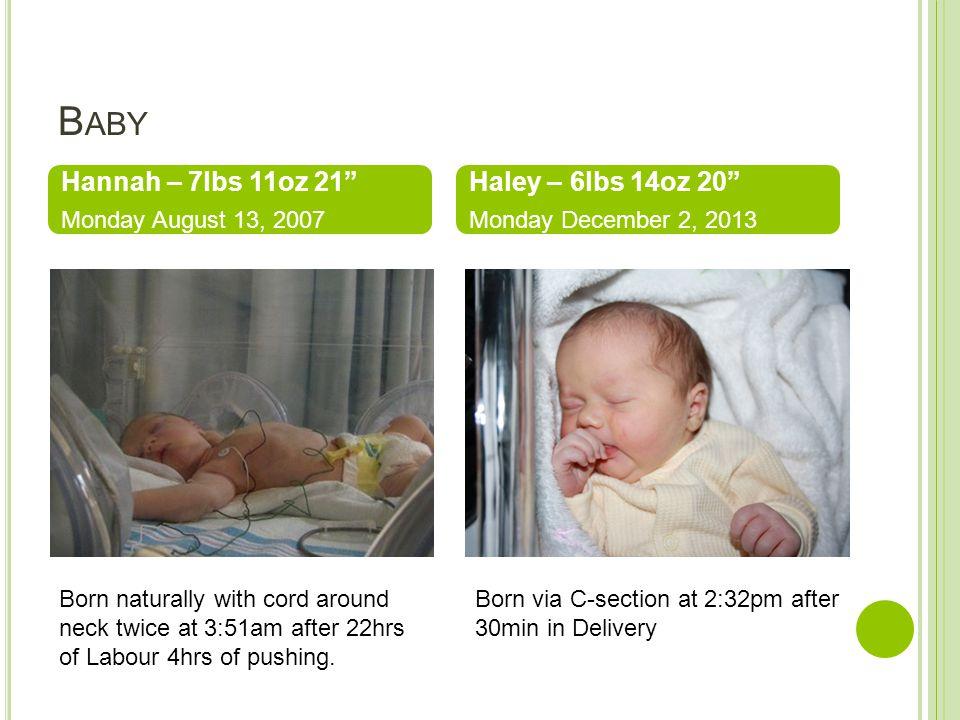 Baby Hannah – 7lbs 11oz 21 Haley – 6lbs 14oz 20