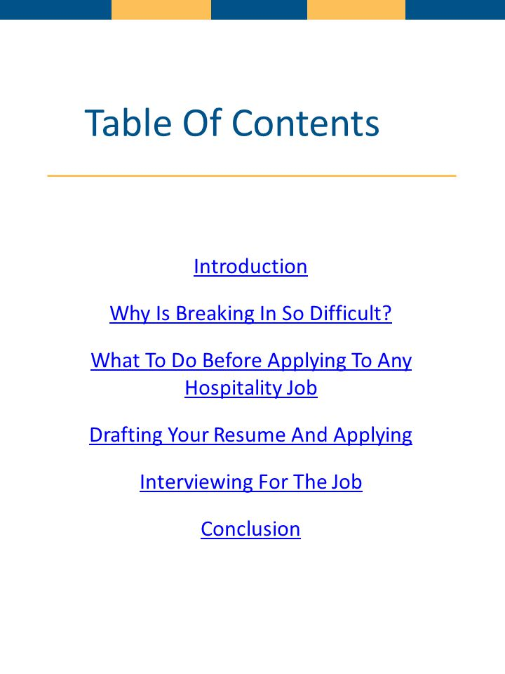 Table Of Contents Introduction Why Is Breaking In So Difficult