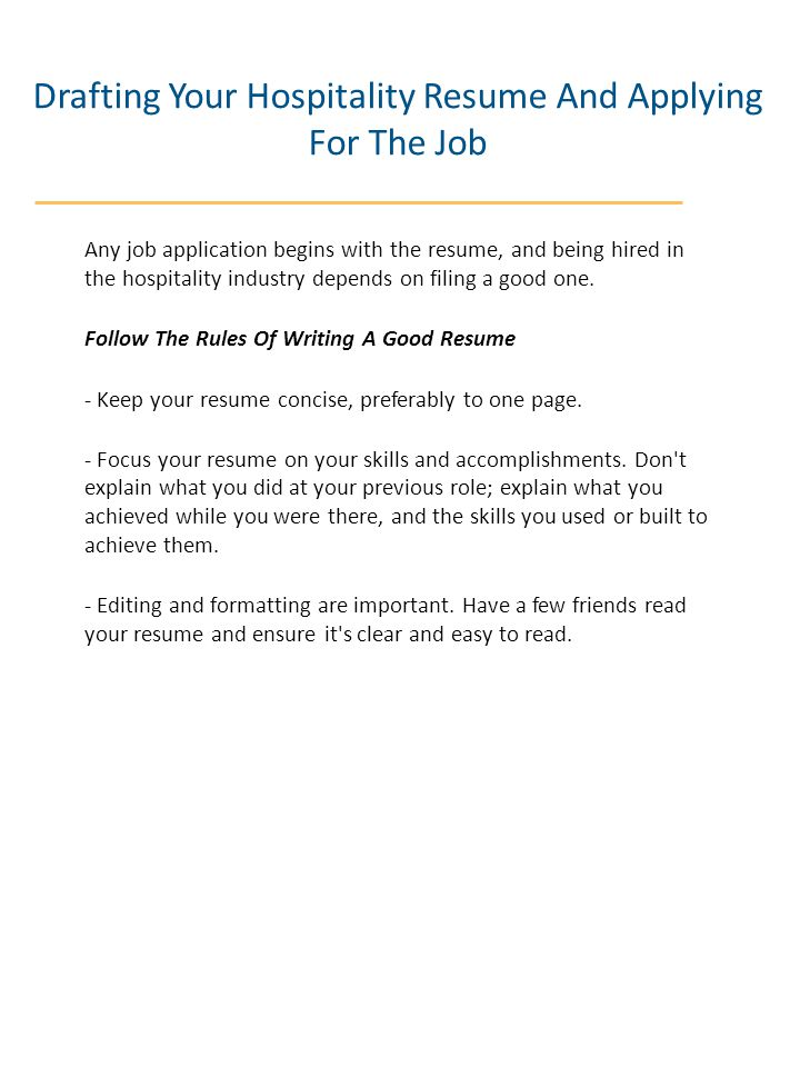 Drafting Your Hospitality Resume And Applying For The Job