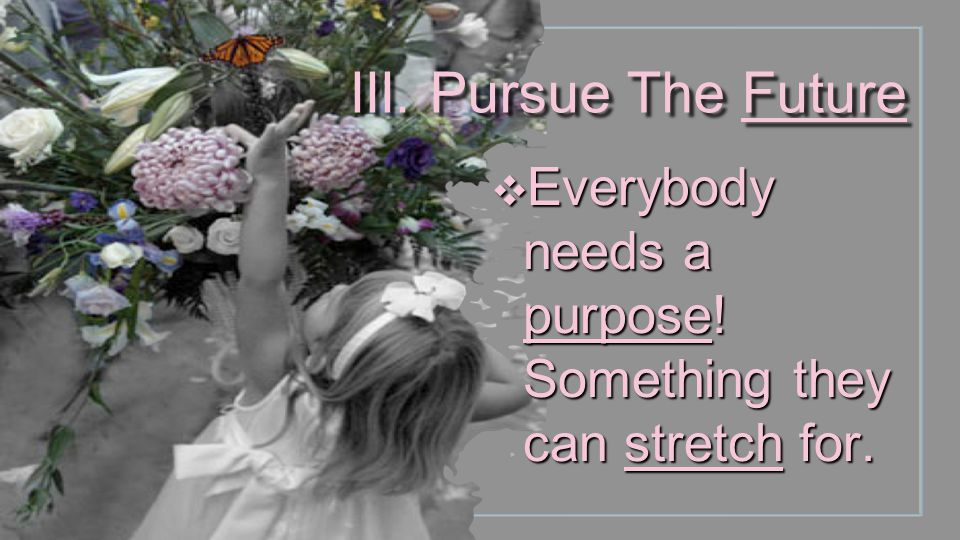 III. Pursue The Future Everybody needs a purpose! Something they can stretch for.