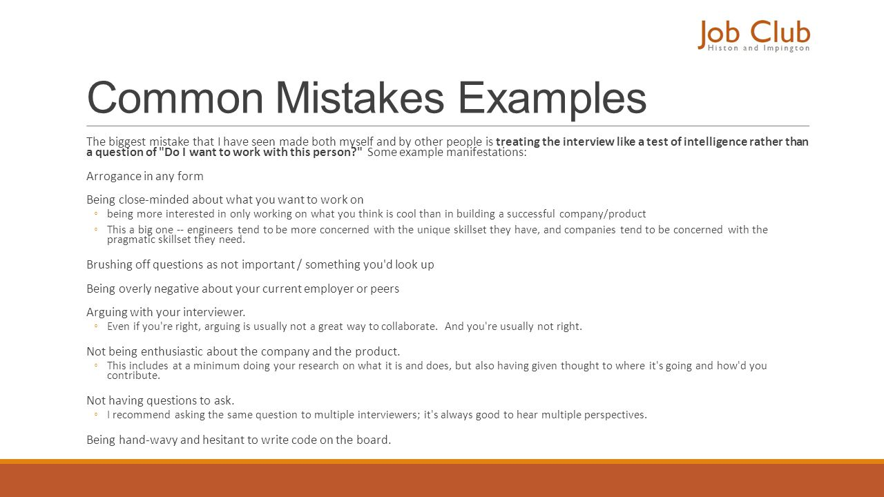 Common Mistakes Examples
