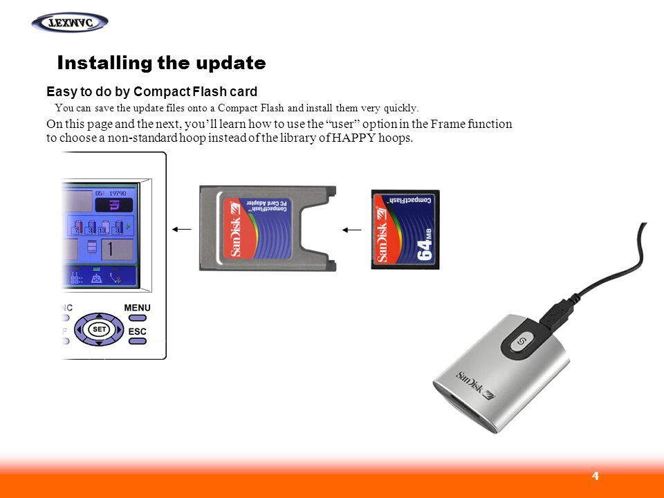 Installing the update Easy to do by Compact Flash card