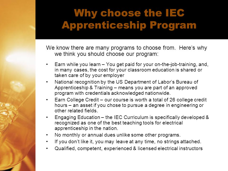 Why choose the IEC Apprenticeship Program