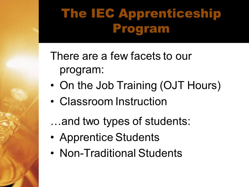 The IEC Apprenticeship Program