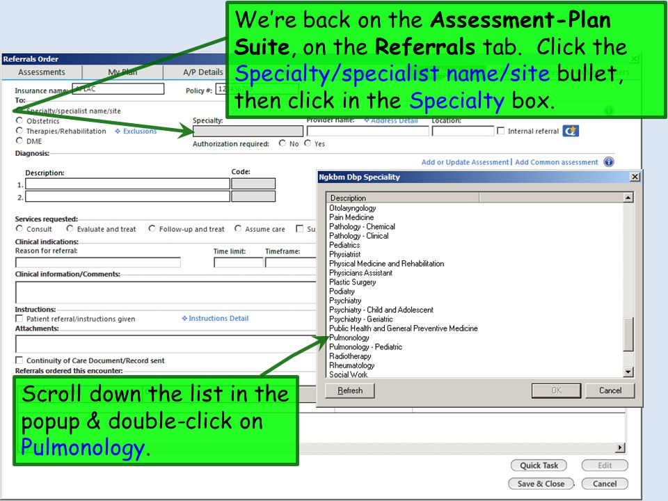 We're back on the Assessment-Plan Suite, on the Referrals tab