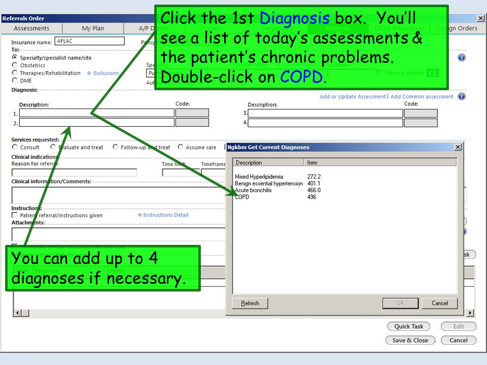 Click the 1st Diagnosis box