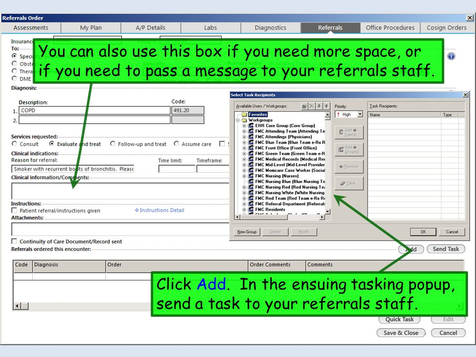 You can also use this box if you need more space, or if you need to pass a message to your referrals staff.
