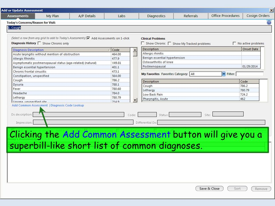 Clicking the Add Common Assessment button will give you a superbill-like short list of common diagnoses.