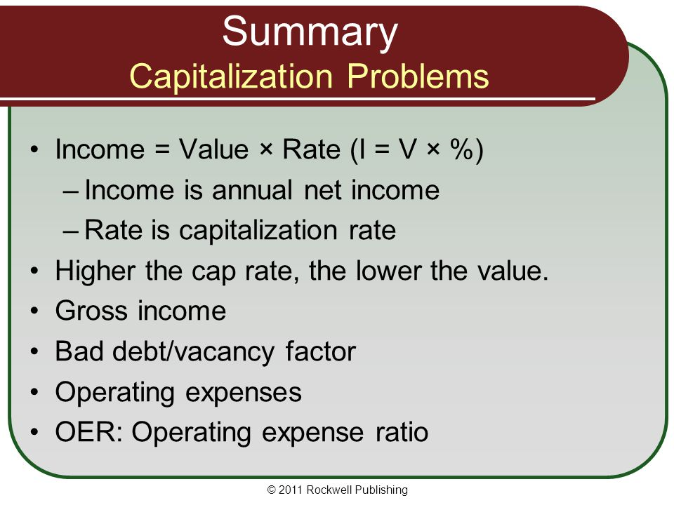 Summary Capitalization Problems