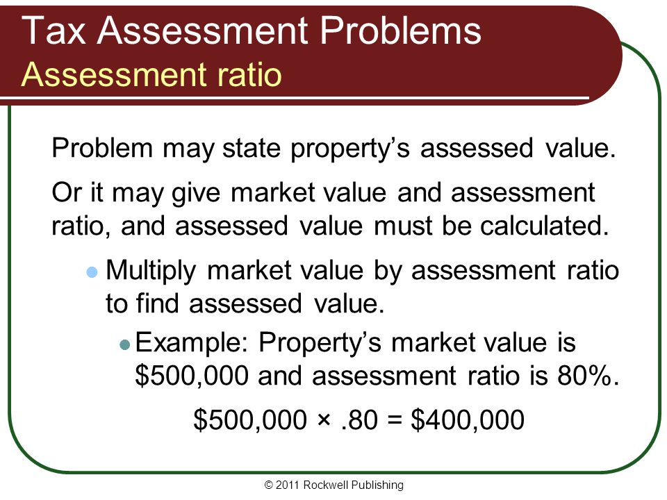 Tax Assessment Problems Assessment ratio