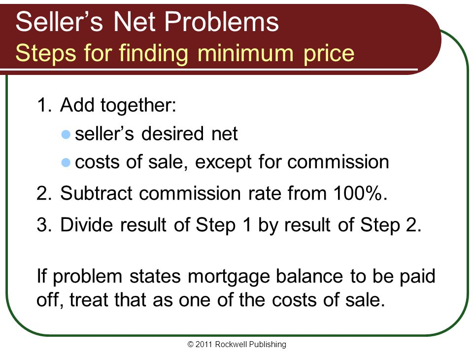 Seller's Net Problems Steps for finding minimum price