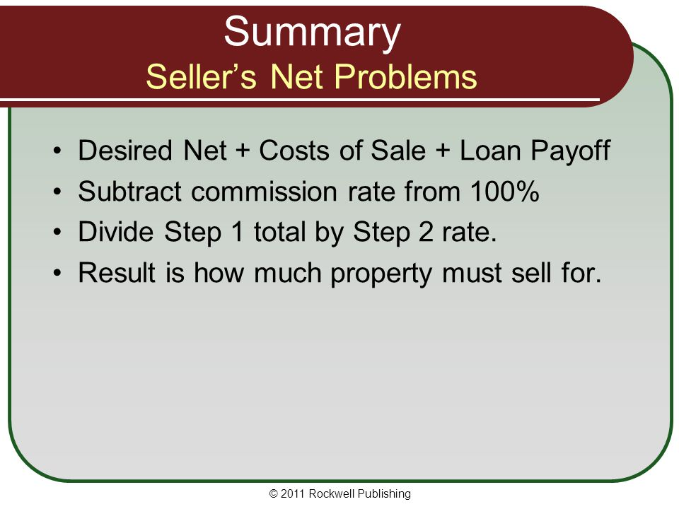 Summary Seller's Net Problems