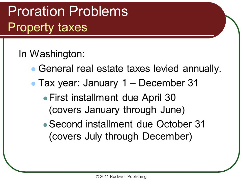 Proration Problems Property taxes