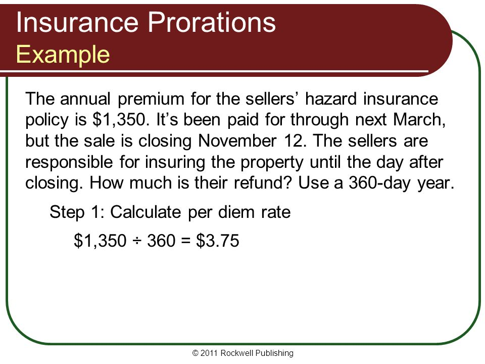 Insurance Prorations Example