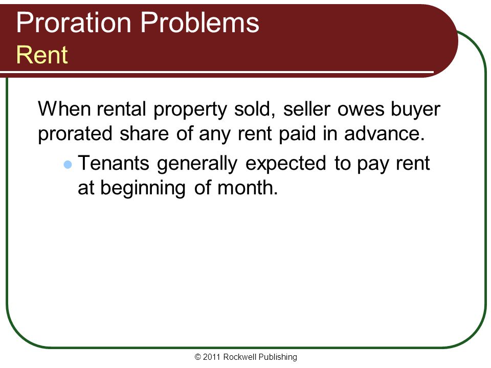Proration Problems Rent