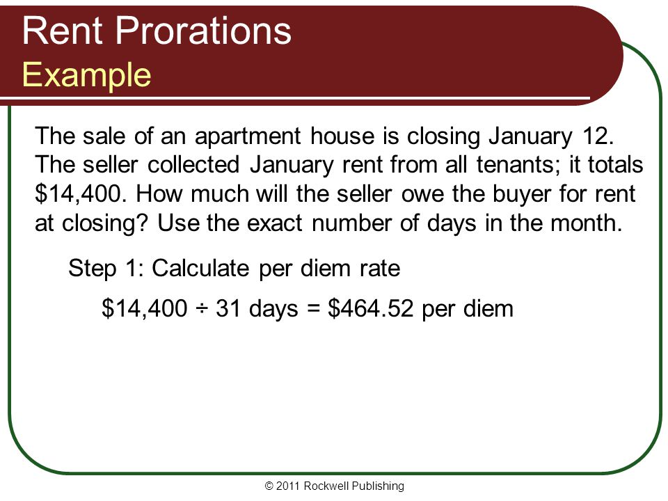Rent Prorations Example