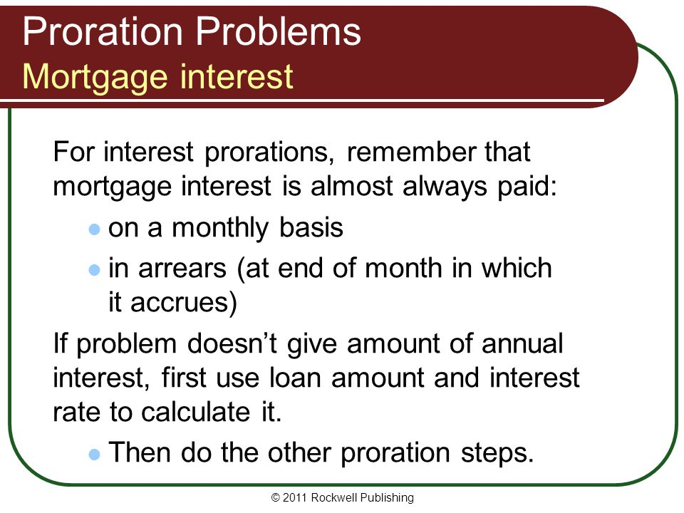 Proration Problems Mortgage interest