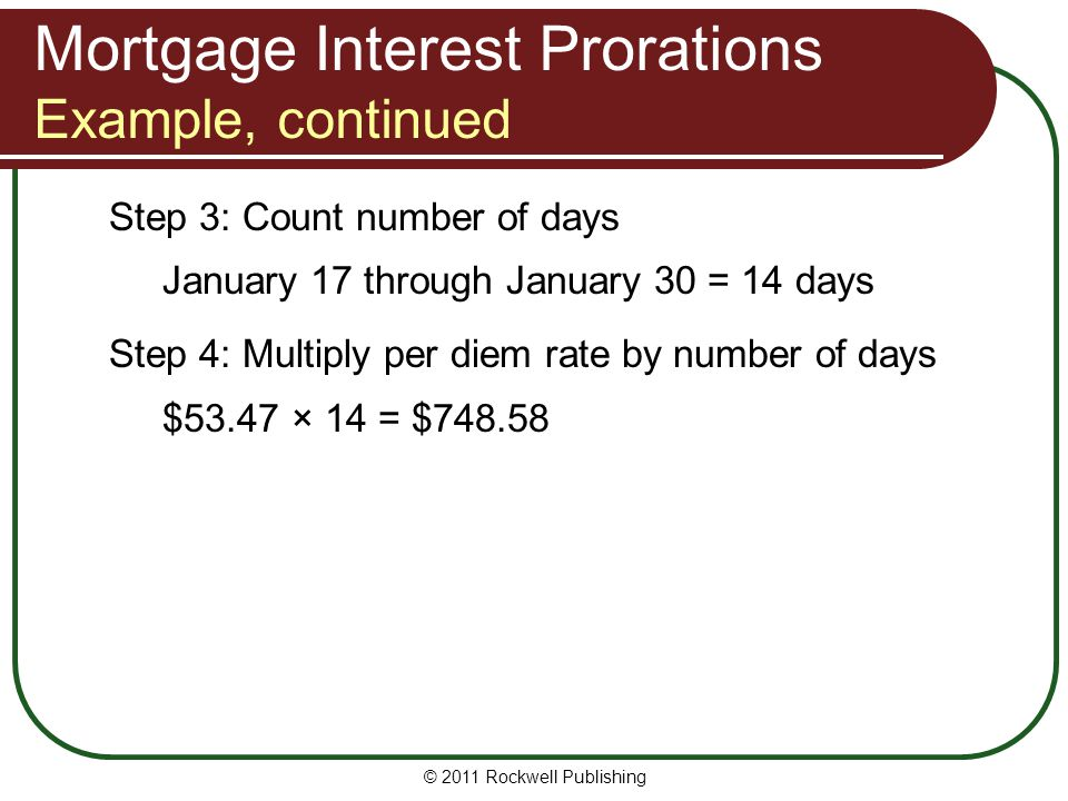Mortgage Interest Prorations Example, continued