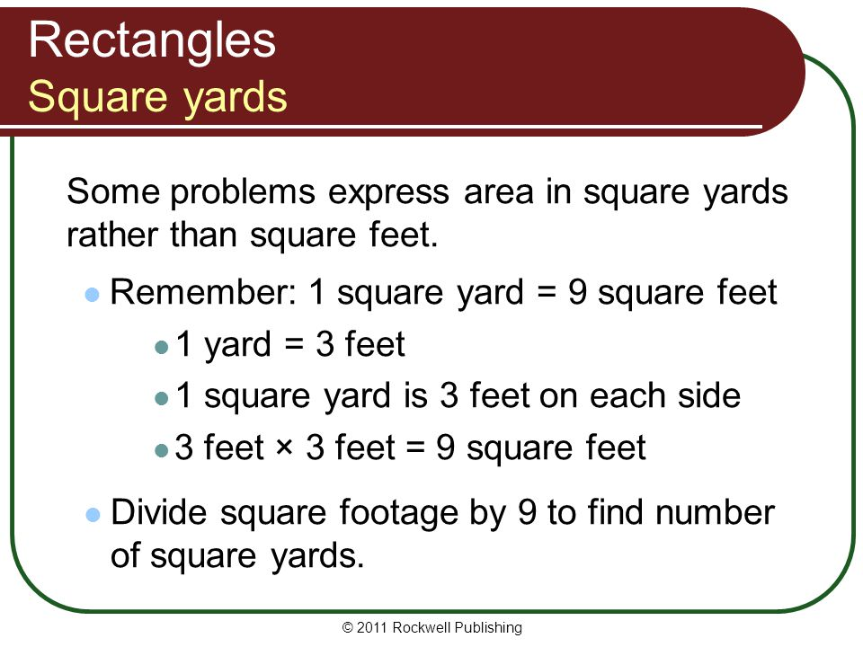 Rectangles Square yards