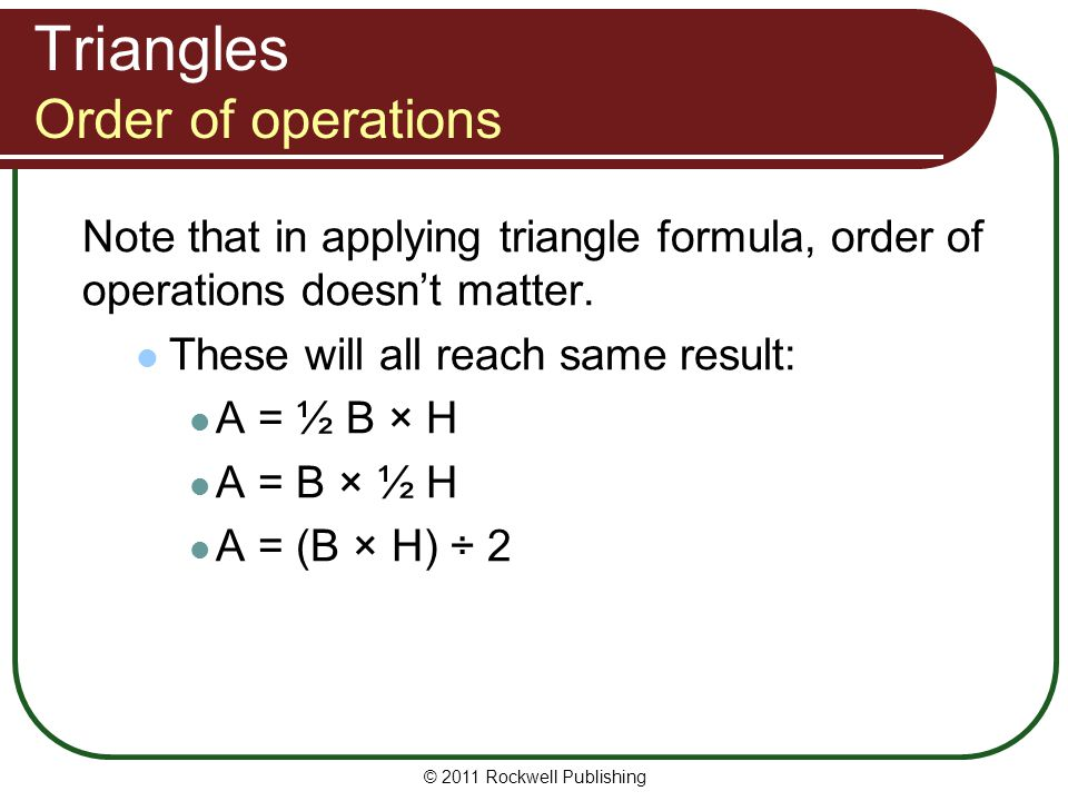 Triangles Order of operations