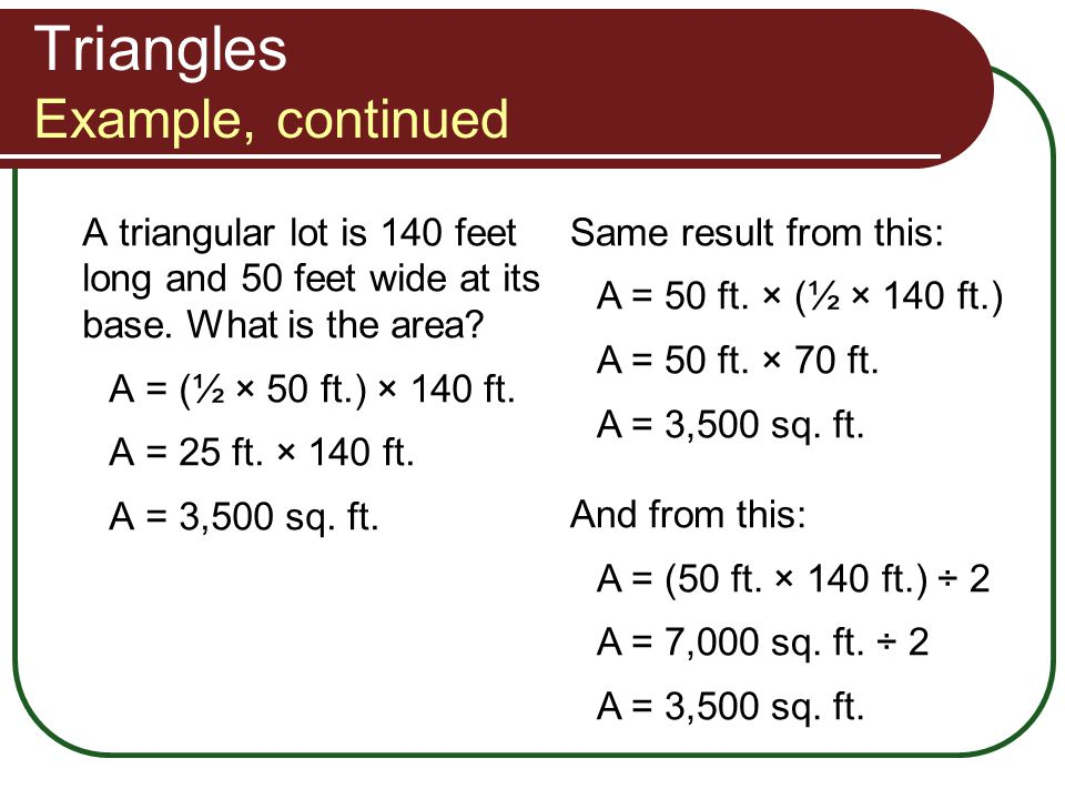 Triangles Example, continued