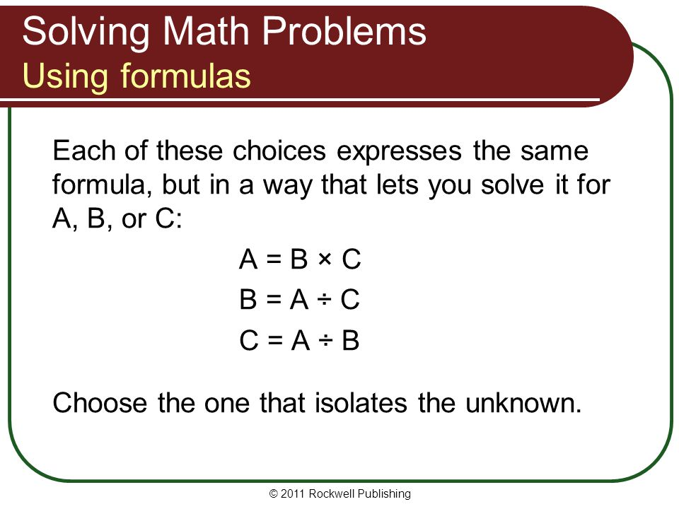 Solving Math Problems Using formulas