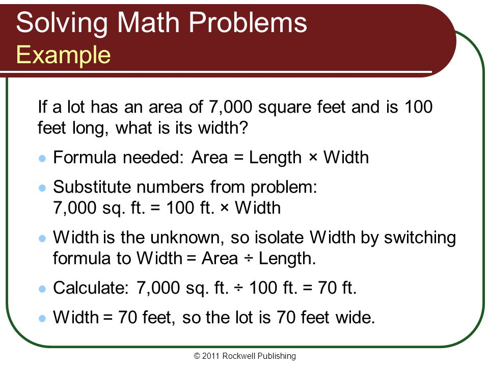 Solving Math Problems Example