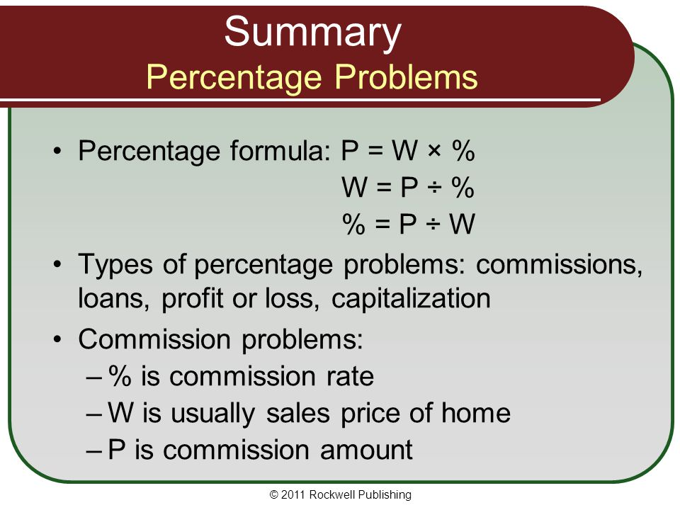 Summary Percentage Problems