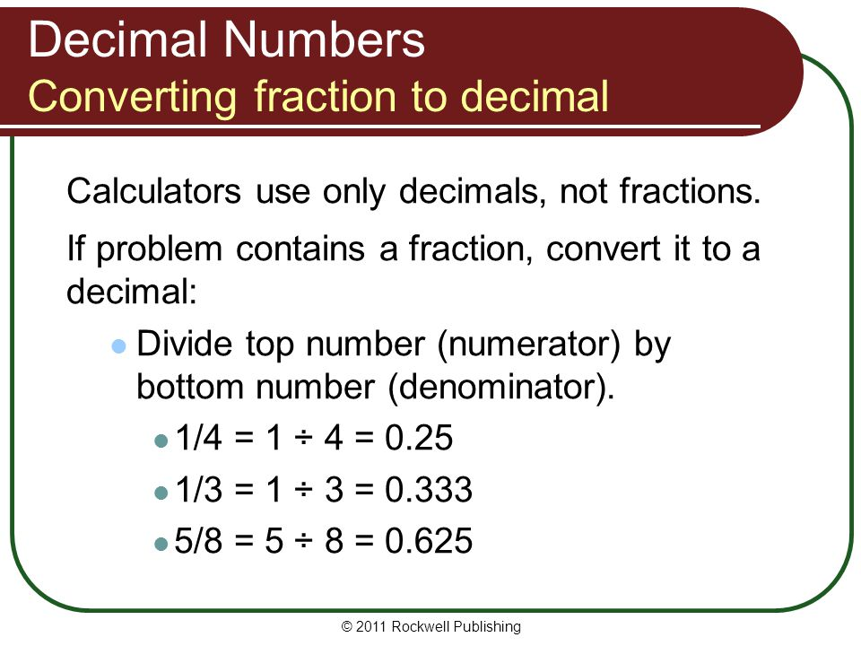 Decimal Numbers Converting fraction to decimal