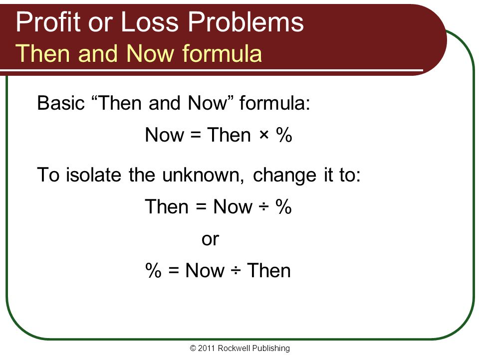 Profit or Loss Problems Then and Now formula