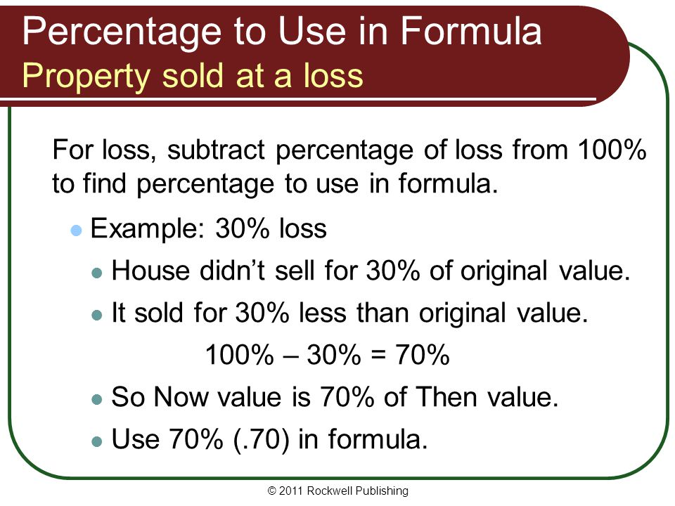 Percentage to Use in Formula Property sold at a loss