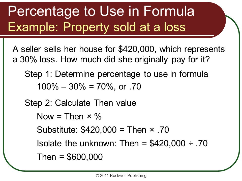 Percentage to Use in Formula Example: Property sold at a loss