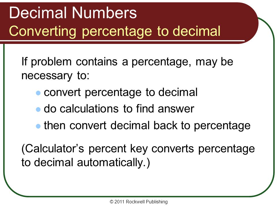 Decimal Numbers Converting percentage to decimal