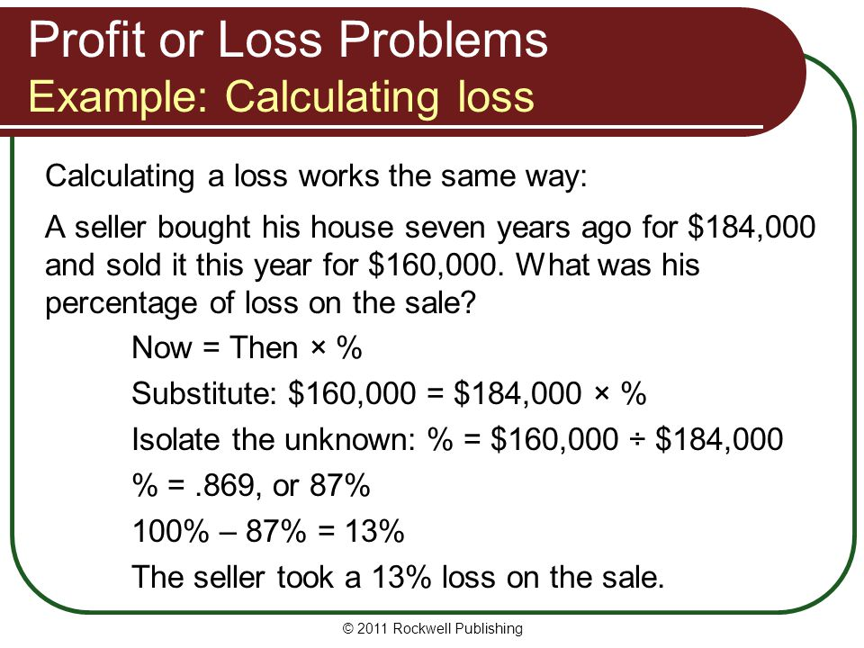 Profit or Loss Problems Example: Calculating loss