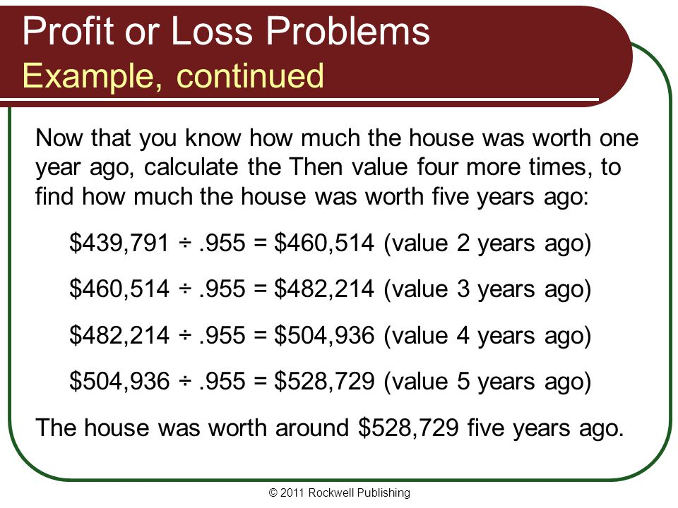 Profit or Loss Problems Example, continued