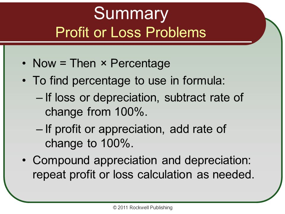 Summary Profit or Loss Problems