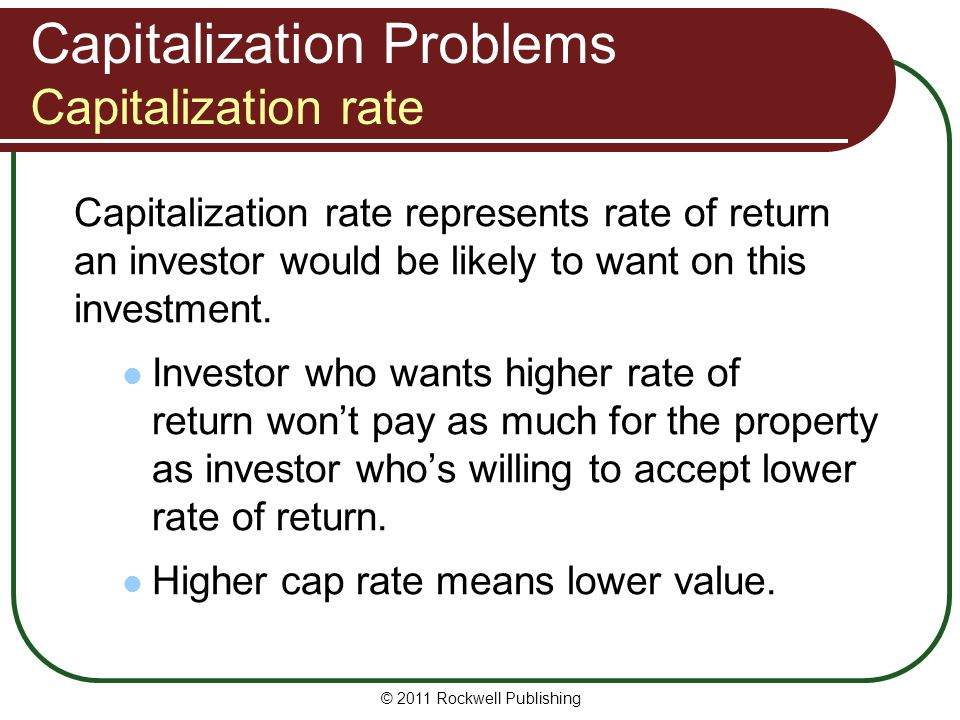 Capitalization Problems Capitalization rate