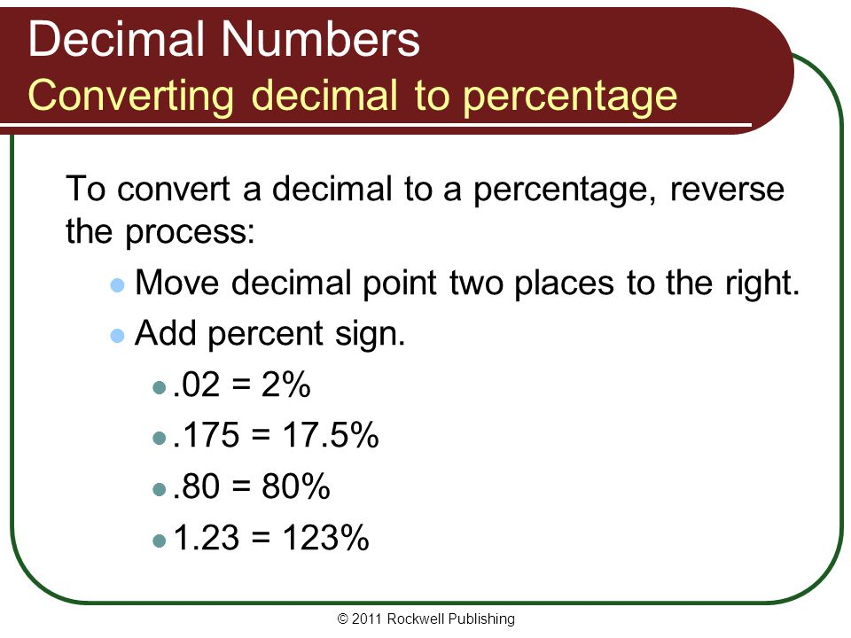 Decimal Numbers Converting decimal to percentage