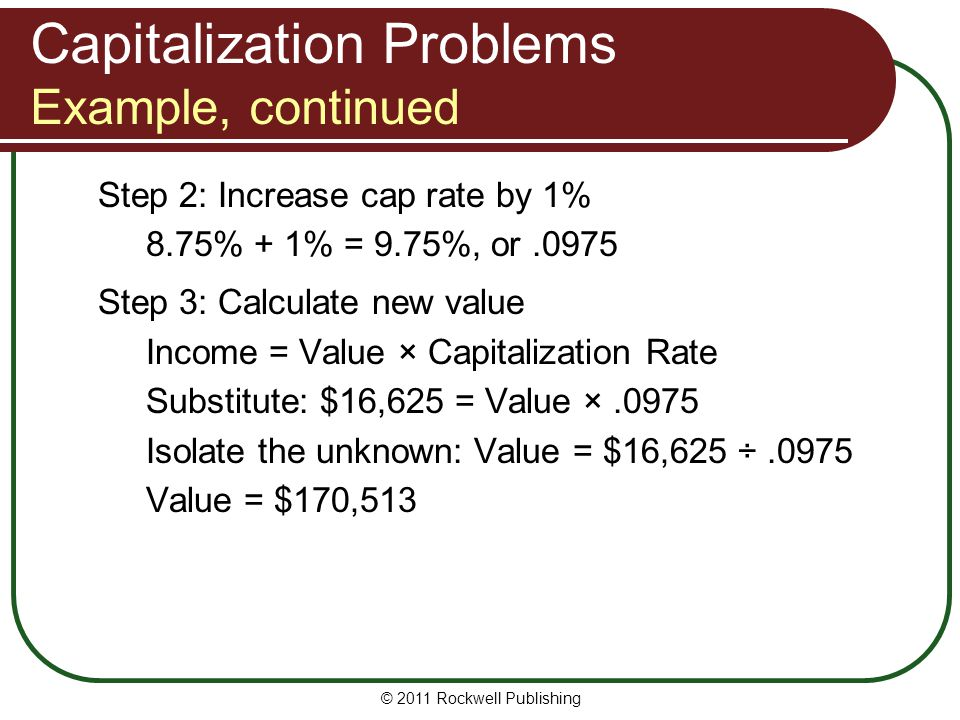 Capitalization Problems Example, continued