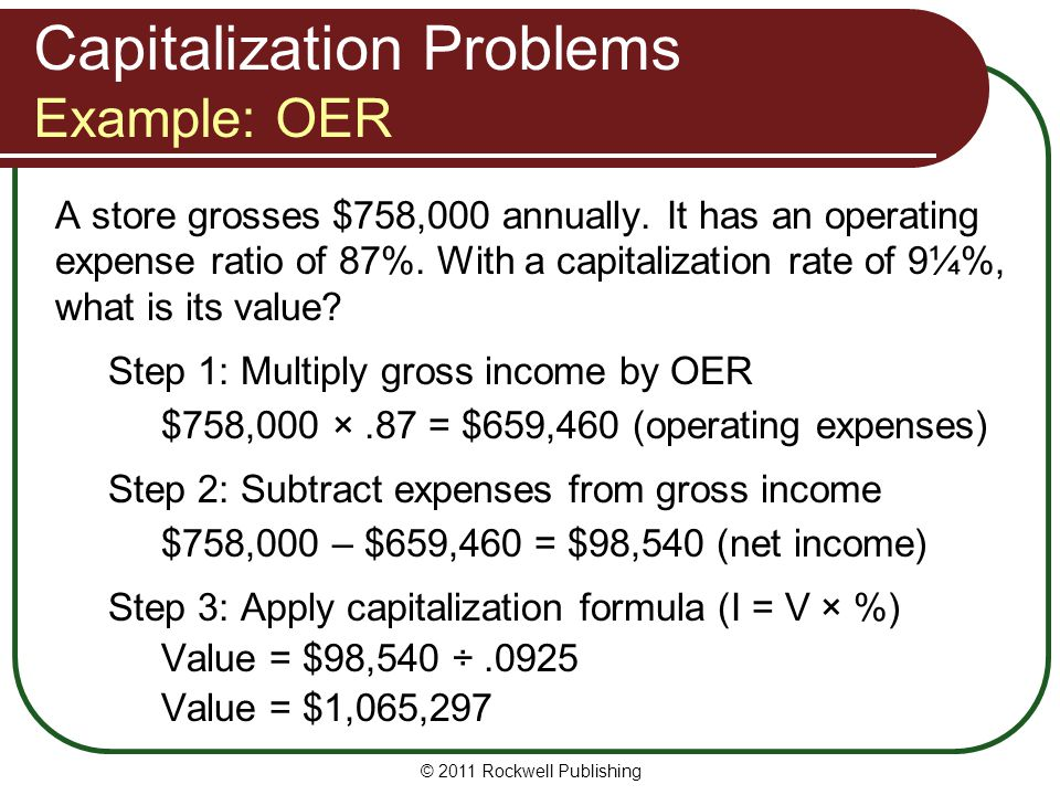 Capitalization Problems Example: OER