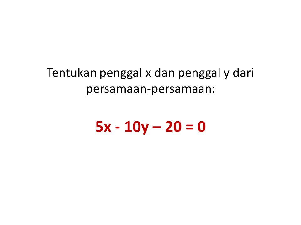 Tentukan penggal x dan penggal y dari persamaan-persamaan: