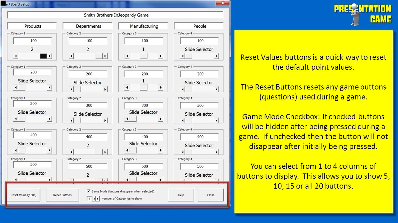 Reset Values buttons is a quick way to reset the default point values.