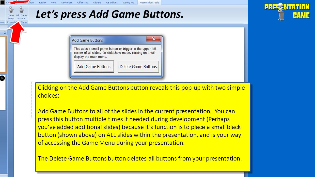 Let's press Add Game Buttons.