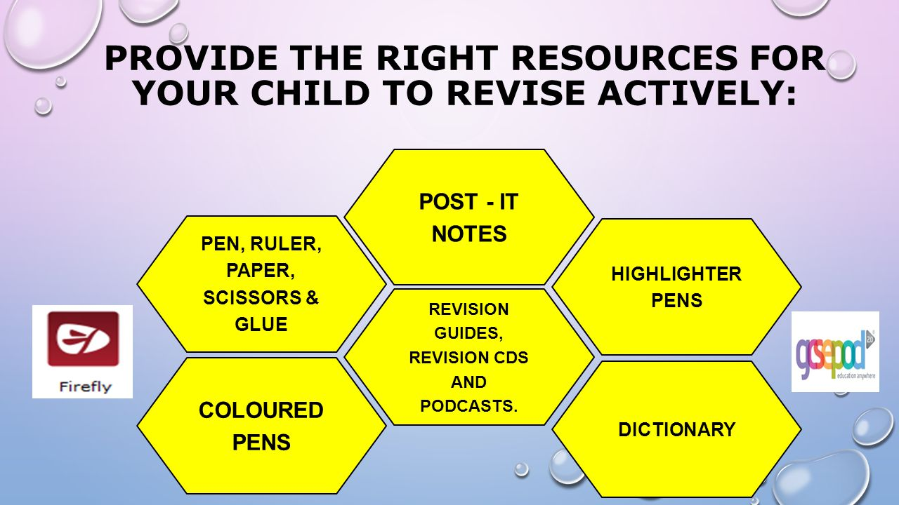 provide the right resources for your child to revise actively: