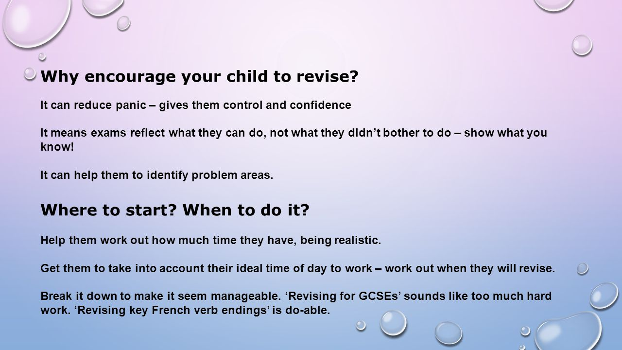 Why encourage your child to revise