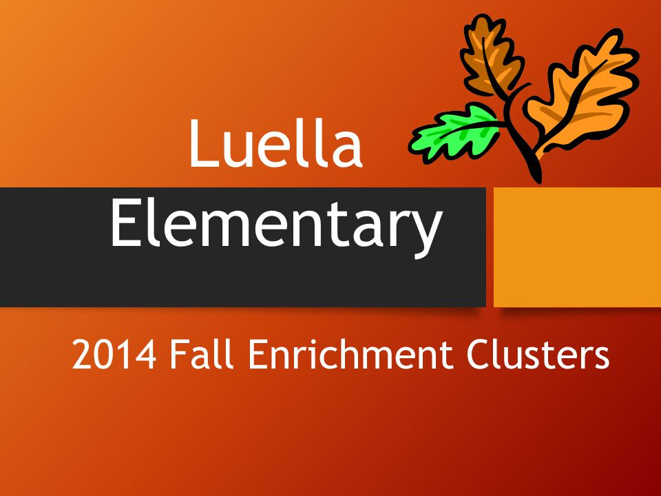2014 Fall Enrichment Clusters