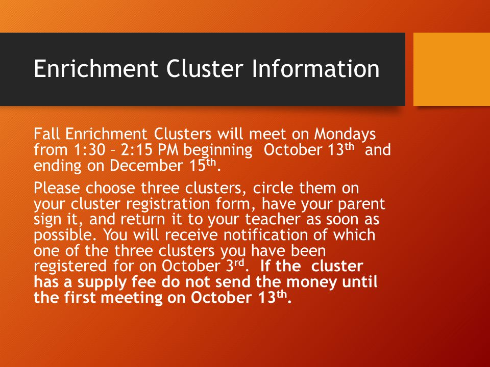 Enrichment Cluster Information