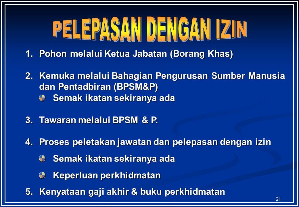 PELEPASAN DENGAN IZIN Pohon melalui Ketua Jabatan (Borang Khas)
