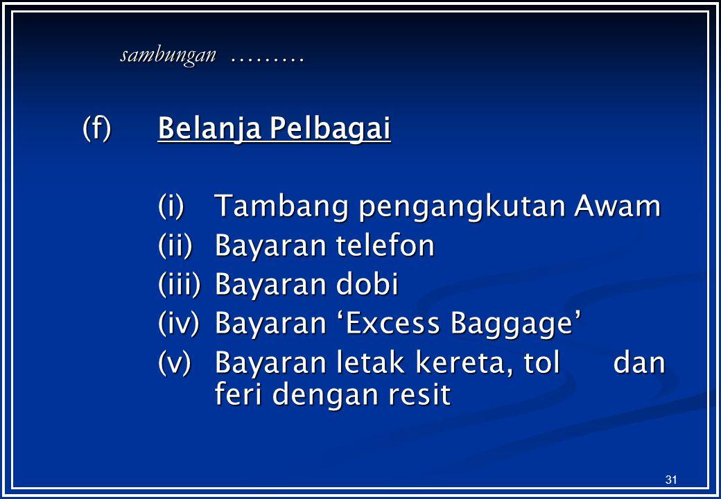 (i) Tambang pengangkutan Awam (ii) Bayaran telefon (iii) Bayaran dobi