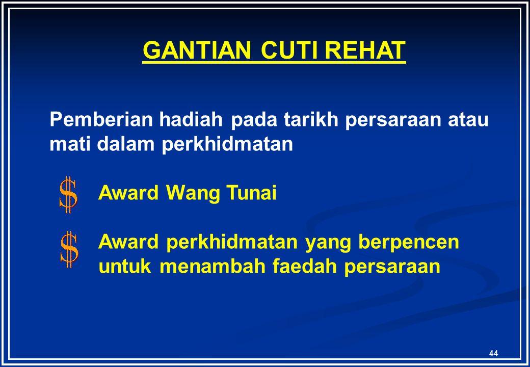 GANTIAN CUTI REHAT Pemberian hadiah pada tarikh persaraan atau mati dalam perkhidmatan. Award Wang Tunai.